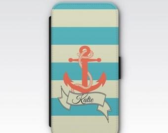 Wallet Case for iPhone 8 Plus, iPhone 8, iPhone 7 Plus, iPhone 7, iPhone 6, iPhone 6s, iPhone 5/5s - Nautical Anchor Personalised Phone Case
