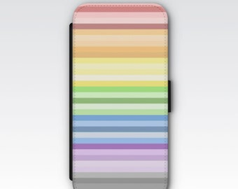 Wallet Case for iPhone 8 Plus, iPhone 8, iPhone 7 Plus, iPhone 7, iPhone 6, iPhone 6s, iPhone 5/5s - Pastel Rainbow Stripes Wallet Case