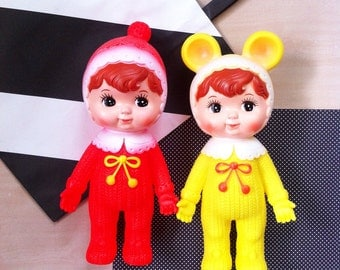 Kawaii YELLOW vintage style / retro Japanese Baby Doll rubber toy / Woodland doll / big eyed doll style from Japan