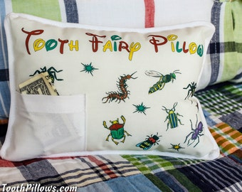 Personalized Tooth Fairy Pillow, BUG Tooth Fairy Pillow, Tooth Fairy Letter
