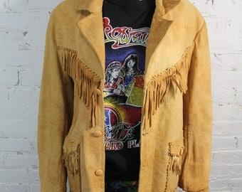 1940s Leather Fringe Jacket rockstar tan deer skin boho hippie OAK Handmade Coat M