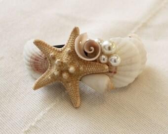 Seashell Hair Clip, Hair accessory, Beach Wedding, Seashell Starfish