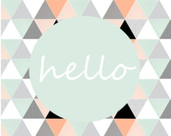 Throw Pillow // Hello // Mint Coral // Sketch Triangles // pillow cover