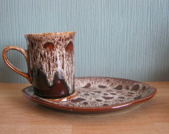 Fosters Pottery Cornwall Brown Honeycomb Tennis Set
