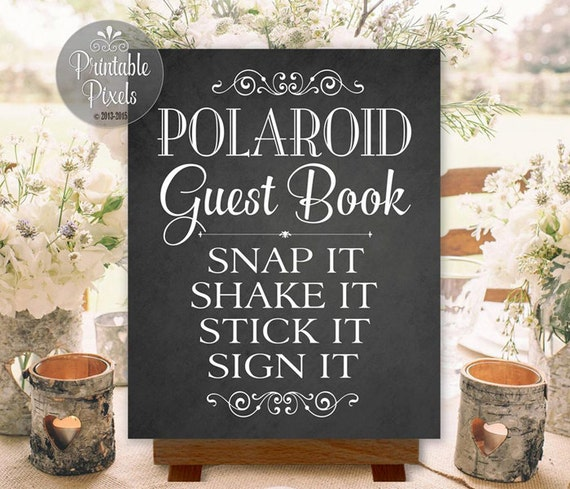 Polaroid Guest Book: Polaroid Guest Book Sign Chalkboard Wedding By PrintablePixels