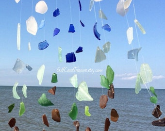 Rustic Sea Glass Wind Chime, Made to Order Driftwood Beach Windchime, Nautical Wedding Decorations, Housewarming Gift, present for newlyweds