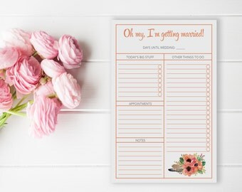 Wedding Planning To - Do List Checklist   I'm Getting Married   things to do   5 1/2 X 8 1/2 Notepad   Bride's Planning List
