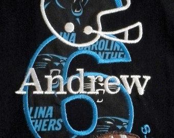 FOOTBALL Carolina Panthers Birthday shirt for boys personalized with name and number in your choice of team colors, embroidered,applique