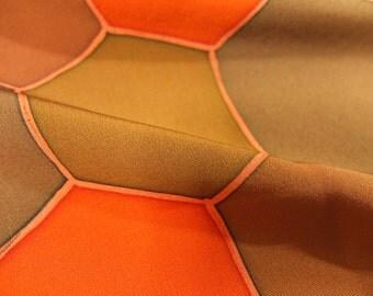 "13.7 ""w. x 13.9 ""l. Vintage kimono silk fabric-TortoiseShell2454M"