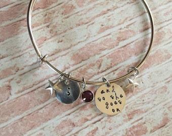 Semicolon bangle bracelet with custom birth stone