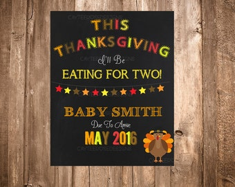 Photoshop Chalkboard Thanksgiving Pregnancy Announcement - Eating for TWO!
