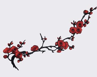Emmas Two Pair of Cherry Blossom Sakura Flower Iron on Embroidered