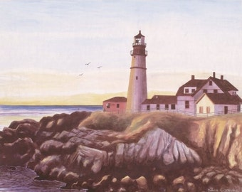 The Portland Headlight Watercolor Print