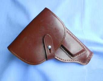 Unissued East German brown leather makarov pistol holster cold war communist soviet era NVA DDR GDR