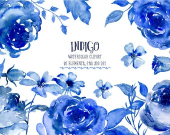 Watercolor Clipart Indigo - indigo and blue flowers and decorative elements for instant download