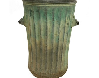 Green Trash Can with Patina
