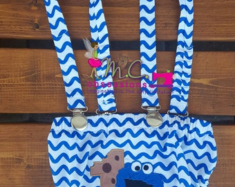 Blue Monster Diaper Cover with Suspenders