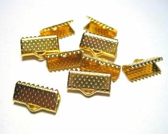 30pcs Gold Tone Textured Pinch Crimps Cord Ends Ribbon Crimps Ribbon Ends 13x7x5mm