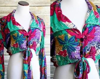 80's floral crop top.  Long sleeve button up tie waist, floral Hawaiian, luau shirt. Medium Large.
