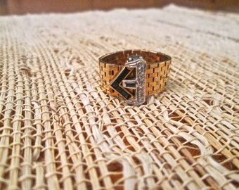1940's 14k gold adjustable mesh diamond and sapphire ring