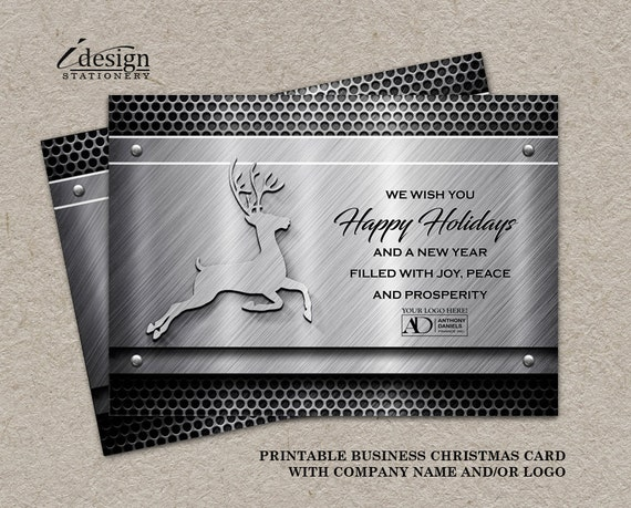 printable metal holiday greetings cards with company logo for