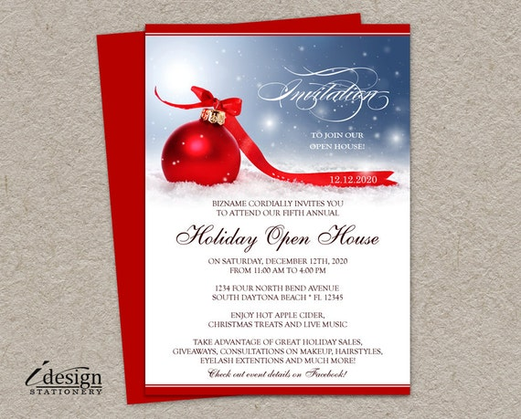 Holiday Open House Invitation For Business Or Store Festive