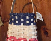 Tapered Wall Basket with Oak Handle  Woven with Red, Natural (White)  and Blue Reed