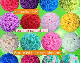 Rose Flower Ball Pomander Rose Balls Wedding decoratin Ball Silk Rose Kissing Ball Muti-colors Multi-sizes (GA, USA)