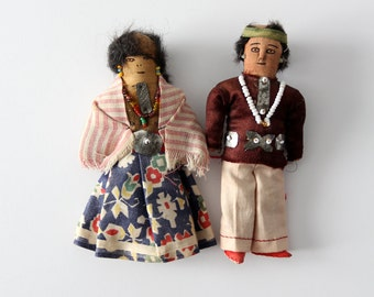 vintage Native American doll pair, man and woman set