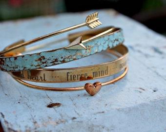 Inspirational | Kind Heart, Fierce Mind, Brave Spirit, Graduation, Encouragement, Stacked Bracelets, Layered Bracelets, Motivational Gift