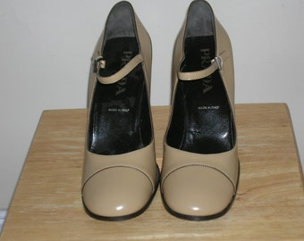 Prada Mary Jane Shoes -  light beige patent, never worn, Size 38.5