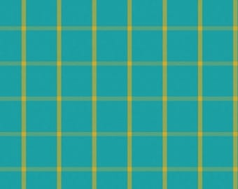 Fabric - Cloud 9 - Window Dressing Big Plaids Turquoise - Yarn Dyed Broadcloth Fabric