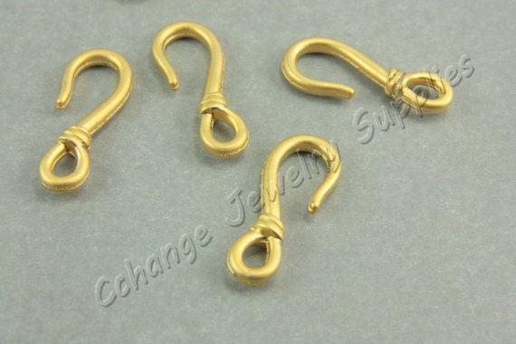 Gold fish hook charms 5pcs gold fishing hook pendants 25mm for Gold fish hook pendant