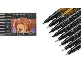 Manga Illustration Marker Set 8 Colored Art Markers For Anime Artist, Premium Pigment No Smear Manga Ink Markers For High Quality Manga Art