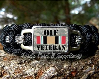 OIF Veteran Bracelet, Paracord Bracelet, Survival Bracelet, Operation Iraqi Freedom Veteran, Unisex Adult Bracelet, Gift
