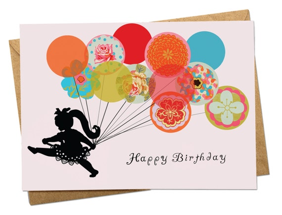 Running With Balloons Girl Birthday Card