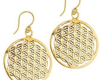 Earrings 29 mm flower of life brass antique golden tribal earrings flower of life