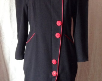 Vintage dress, black, edgings and red buttons, size F 40 / 42, USA 31, UK 12 / 14.