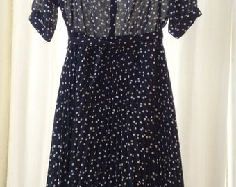 Dress vintage, black and white polka dots, Sixth Sense, T 40.