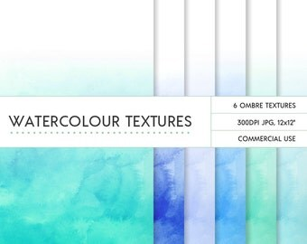 Turquoise & blue ombre watercolor digital papers