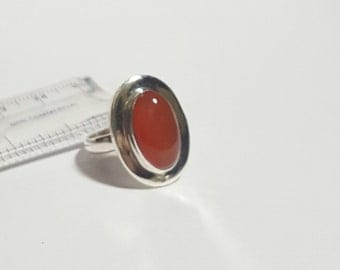 Natural Orange Carnelian Gemstone ( Oval 14 x 10 mm ) Cabochon in handmade Solid 925 Silver Ring ANY SIZE AVAILABLE
