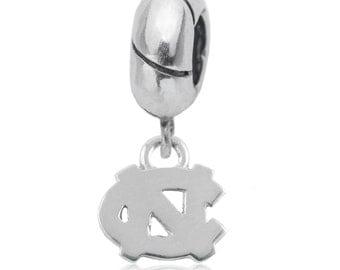 UNC Charm Bead, Tar Heel Jewelry, UNC Jewelry, Carolina Jewelry, UNC-6201