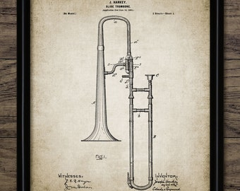 Vintage Slide Trombone Patent Print - 1902 Brass Instrument Design - Music Room Art - Musician Art - Single Print #1039 - INSTANT DOWNLOAD