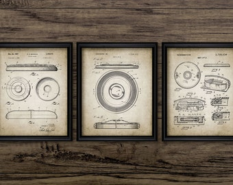 Frisbee Patent Print Set Of 3 - Frisbee Design - Flying Disc - Frisbee Invention - Frisbee Art - Set Of Three Prints #2084 -INSTANT DOWNLOAD