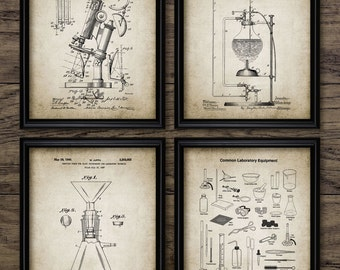 Vintage Science Patent Print Set Of 4 - Chemistry - Laboratory - Science Student Gift - Home Decor - Set Of 4 Prints #574 - INSTANT DOWNLOAD