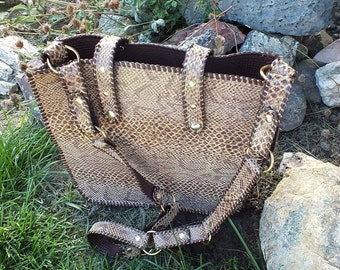 Leather Tote Bag, Leather Shoulder Bag, Snake Skin Bag, Faux Snake Skin