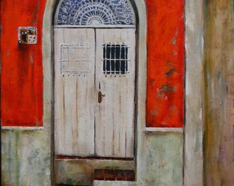 Cat in Old San Juan, Puerto Rico oil painting