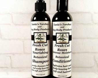 Moisturizing Shampoo Conditioner Set, Organic Hair Care Fresh Cut Roses Scent