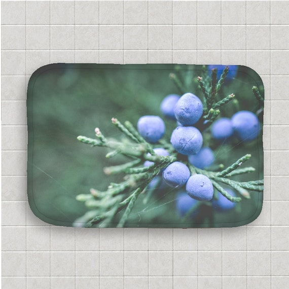 Bath Mat, Blue and Green, Bathroom Decor, Evergreen Tree, Nature Photography, Macro Images, Winter Decor, Bath Room Art, Memory Foam