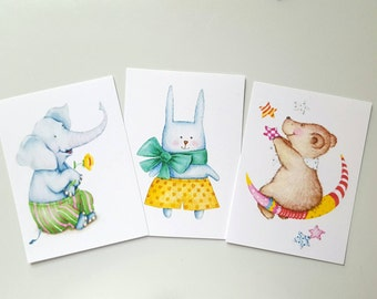 Set of 3 ACEO watercolor prints. Art trading cards. Nursery art. Mini art. Watercolor art prints